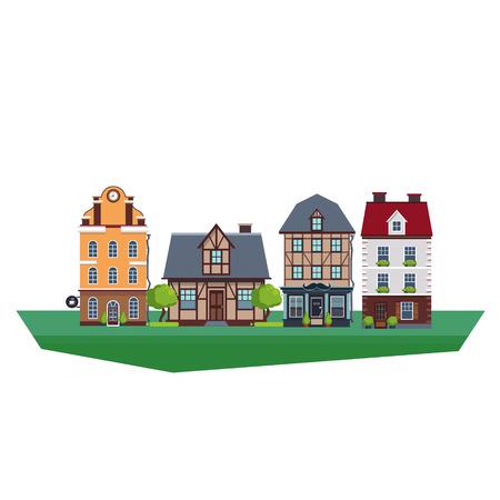 Set of old vintage mideval houses. Vector Illustration