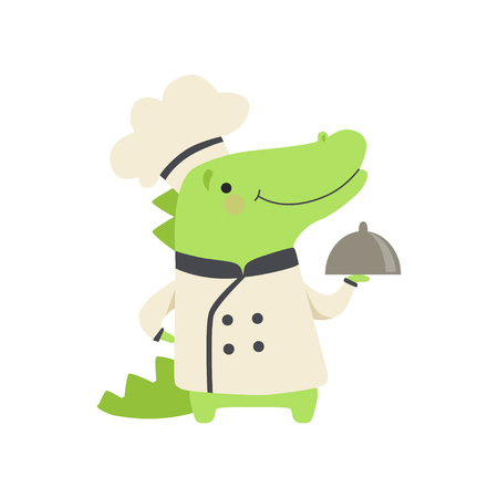 Cute crocodile in chef uniform holding silver cloche, cartoon animal character cooking vector Illustration isolated on a white background. Standard-Bild - 128162988