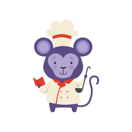 Cute monkey in chef uniform holding book with recipes and ladle, cartoon animal character cooking vector Illustration isolated on a white background.