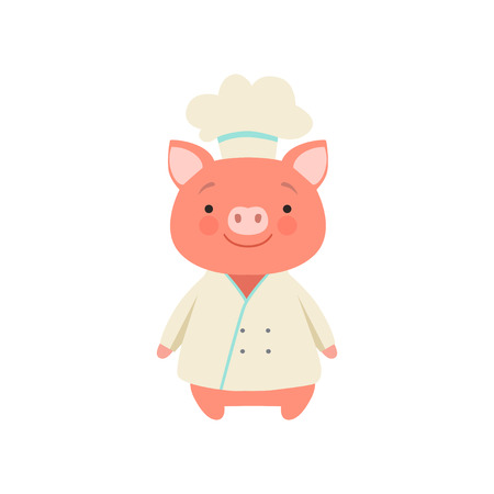 Cute piglet in chef uniform, cute cartoon animal character vector Illustration isolated on a white background. Foto de archivo - 128162991