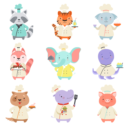Cute animals in chef uniform set, cartoon pets characters cooking delicious dishes vector Illustration isolated on a white background. Foto de archivo - 128162997