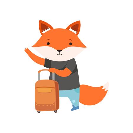 Fröhlicher touristischer Fuchs, der per Anhalter fährt, niedliche Tierzeichentrickfilm-Figur, die auf Sommerferienvektorillustration lokalisiert auf einem weißen Hintergrund reist.