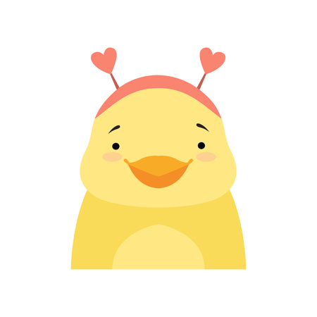 Yellow duckling wearing a headband with heart shape ears, cute cartoon animal character avatar vector Illustration isolated on a white background.