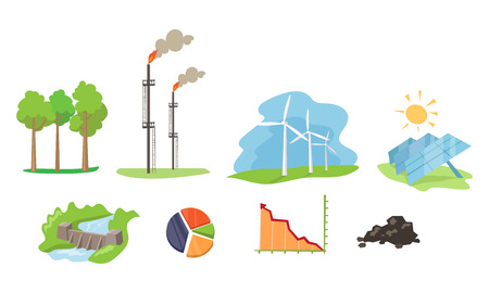 Electricity and energy sources set, wind, hydro, solar power generation facilities vector Illustration on a white background