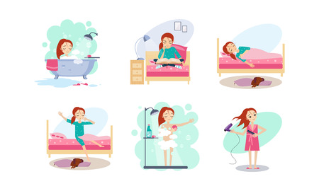 Woman daily routine, night and morning time, girl reading before bed, sleeping, waking up, taking a bath, blowing dry hair vector Illustration isolated on a white background. Ilustração