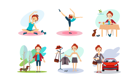 Woman daily routine, morning time, girl doiing sports, eating breakfast, walking with a dog, going to work vector Illustration isolated on a white background.