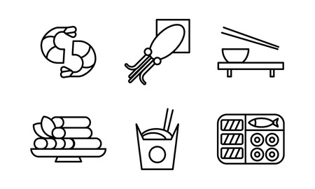 Japanese food black line icons set, Asian cuisine dishes vector Illustration on a white background