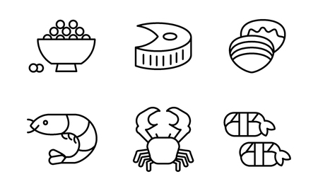 Japanese cuisine dishes set, Asian food line icons vector Illustration on a white background