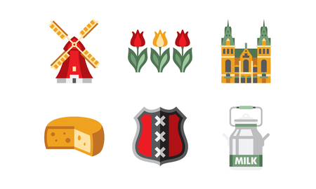 Netherlands travel icons set, Holland national symbols and landmarks vector Illustration on a white background Stock Illustratie
