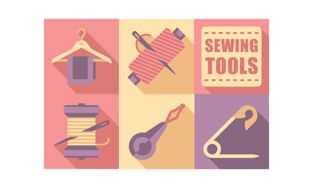 Sewing tools set,tailoring equipment, dressmaking craft elements vector Illustration, web design