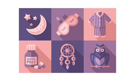 Sleep time icons set, sweet dreams elements, good night vector Illustration vector Illustration, web design