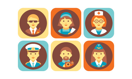 Profession icons set, bodyguard, nurse, doctor, pilot, stewardess, photographer working people vector Illustration isolated on a white background. Illustration