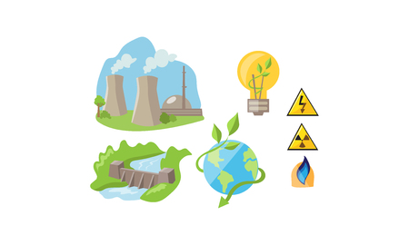 Electricity and energy sources set, renewable environmental resources, alternative and traditional energy vector Illustration isolated on a white background. Illustration