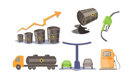 Petroleum industry icons set, oil production and transportation, gas station vector Illustration on a white background Vetores