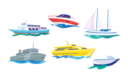 Water transport set, yacht, motorboat, steamship, fishing boat, ship vector Illustration isolated on a white background.