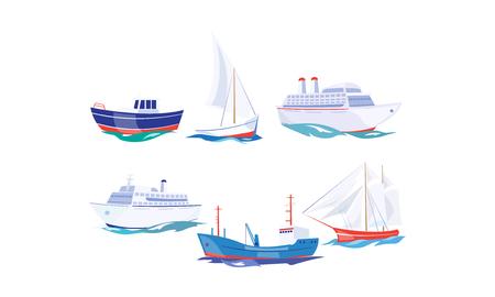 Wassertransportsatz, Yacht, Boot, Frachtschiff, Dampfschiff, Fischerboot, Kreuzfahrtschiffvektor Illustration lokalisiert auf einem weißen Hintergrund. Vektorgrafik