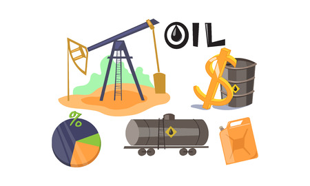 Extraction and processing of oil set, production and transportation of oil and petrol vector Illustration on a white background