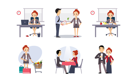 Daily routine, business woman in various activities, working and relaxing vector Illustration isolated on a white background.