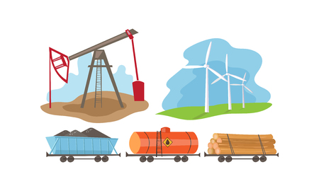 Alternative and fossil energy sources set, extraction and processing of natural resources vector Illustration on a white background