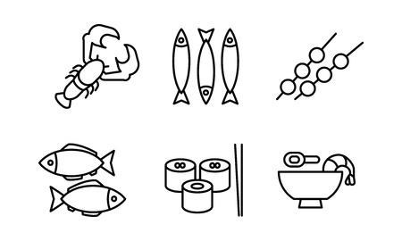 Japanese cuisine dishes set, Asian food black line icons vector Illustration on a white background Illustration