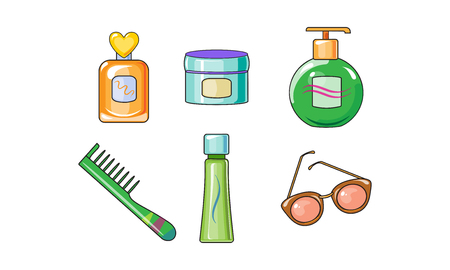 Collection of woman cosmetics and accessories, body care objects vector Illustration isolated on a white background.