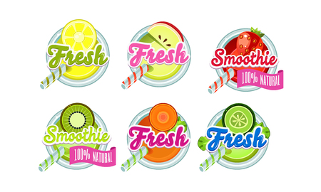 Fresh smoothies set, lemon, apple, strawberry, kiwi, orange, lime fresh drink badges vector Illustration on a white background