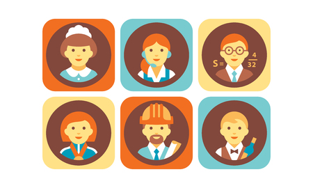 Profession icons set, waitress, teacher, scientist, athlete, engineer, waiter working people vector Illustration isolated on a white background.