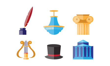 Theatre icons set, theatrical premiere or rehearsal elements vector Illustration on a white background Illustration