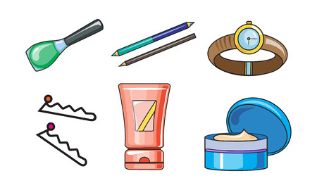 Collection of woman cosmetics and accessories, beauty and care elements vector Illustration isolated on a white background.