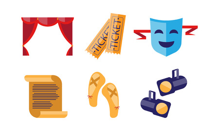 Theatre icons set, curtain, tickets, scroll, pointe shoes, comedy mask, spotlights, theatrical premiere elements vector Illustration on a white background 일러스트