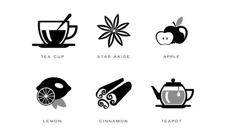Tea icons set, tea cup, star anise, apple, lemon, cinnamon, teapot vector Illustration on a white background