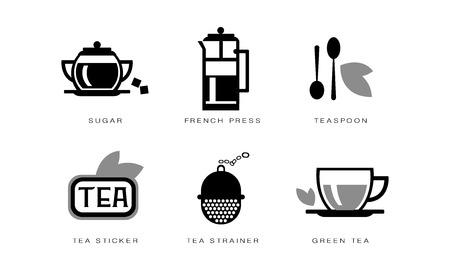 Tea icons set, sugar, french press, teaspoon, strainer, tea sticker vector Illustration on a white background