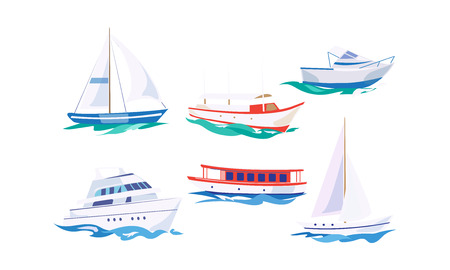 Water transport set, yacht, motorboat, steamship, fishing boat, cruise ship vector Illustration isolated on a white background. Ilustração