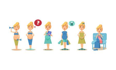 Pregnant women activity set, maternal healthy care concept vector Illustration isolated on a white background. Ilustração