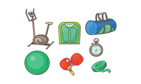 Fitness sport icons set, exercise bike, scales, bag, measuring tape, fitball, table tennis rackets, stopwatch vector Illustration isolated on a white background. Vettoriali