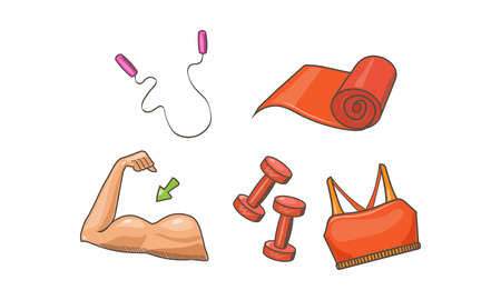 Fitness sport icons set, biceps, jump rope, mat, dumbbell, sports bra vector Illustration isolated on a white background. Illustration