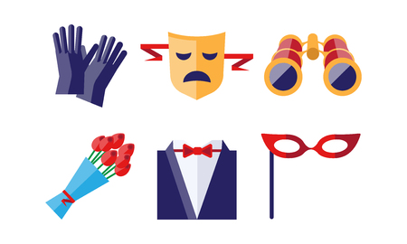 Theatre icons set, gloves, tragedy mask, bouquet of flowers, binoculars, dress coat, theatrical mask, theatrical premiere elements vector Illustration 写真素材 - 110931259