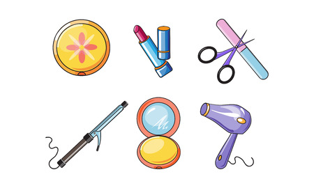 Collection of cosmetics and accessories, beauty and care symbols vector Illustration isolated on a white background.