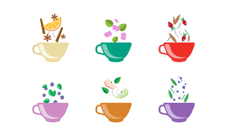 Herbal tea cups set, tea with orange, blueberry, apple, cinnamon, rosehip, anise vector Illustration isolated on a white background. Ilustracja