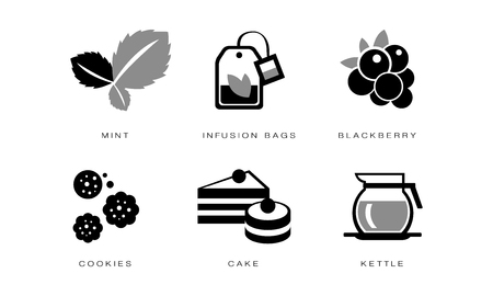 Tea icons set, mint, infusion bag, blackberry, cookies, cake, kettle, vector Illustration on a white background