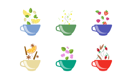 Herbal tea cups set, lemon, chamomile, strawberry, raspberry, cinnamon, rosehip, anise vector Illustration isolated on a white background Ilustracja