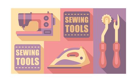 Sewing tools set, tailoring and dressmaking craft elements vector Illustration, web design Illustration