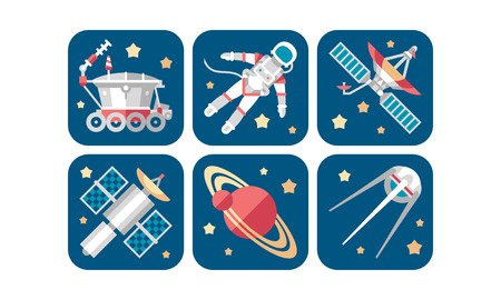 Space icons set, artificial satellite, saturn planet, rover, astronaut, spaceship vector Illustration