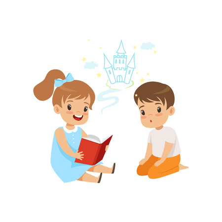 Lovely girl reading fairy tail fantasy book to little boy, kids fabulous imagination vector Illustration on a white background