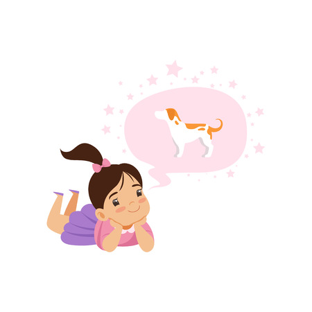 Lovely girl dreaming of a dog, kids imagination and fantasy concept, vector Illustration isolated on a white background. Illustration