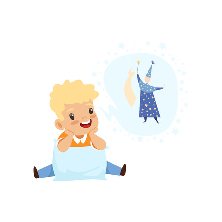 Cute boy dreaming of becoming a wizard, kids imagination and fantasy concept, vector Illustration isolated on a white background.