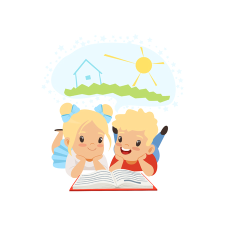 Cute little boy and girl reading fairy tail fantasy book, kids imagination concept vector Illustration isolated on a white background. Illustration