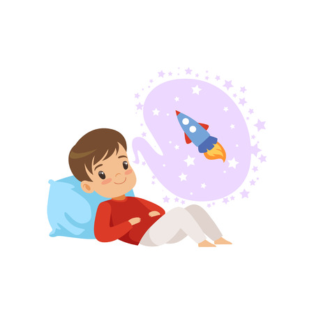 Cute boy lying on a pillow and dreaming about rocket, kids imagination and fantasy concept, vector Illustration isolated on a white background.