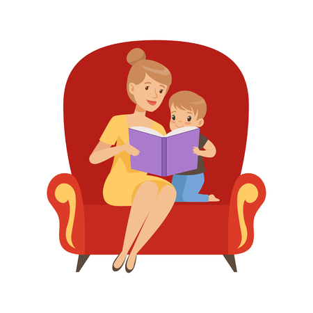 Mother reading a book to her little son sitting in an armchair vector Illustration isolated on a white background.