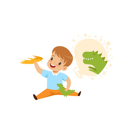 Cute boy playing with a toy dinosaur and dreaming, kids imagination and fantasy concept vector Illustration isolated on a white background. Illustration